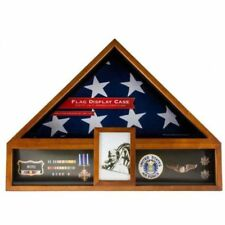 AMERICAN FLAG DISPLAY CASE VETERAN MILITARY  FUNERAL BURIAL MEDAL Glass NEW