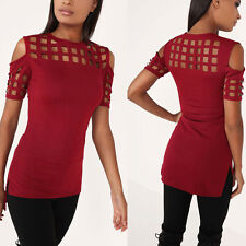 Women Cold Shoulder Top Caged Short Sleeve T-Shirt Summer Casual Slim Fit Blouse