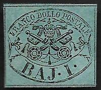 Roman States 1852 Sc 2a 1b Blue-Green Mint Hinged OG CV $1,000