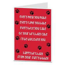 Funny Happy Birthday Card From The Dog Pet Theme for Mum Dad Husband &