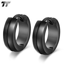 TT Black 316L Stainless Steel Hoop Earrings (EH110D)