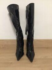 "Playboy Leather Stiletto ""Vintage"" Designer Black Boots ZipUp Size 5 VGC"