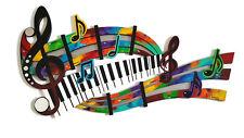 Music Wall Sculpture- Abstract Music Art Wall Decor-Piano keys-wood-metal-mirror