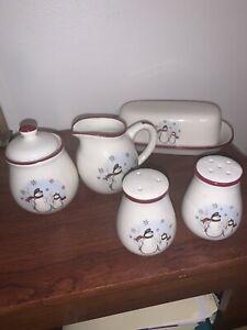 Royal Seasons Stoneware Snowman Table-Top Set Dark Red Trim Excellent Condition