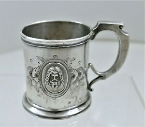 Wood & Hughes Coin Silver Classical Medallion Child's Cup 1865 Loved And Used!