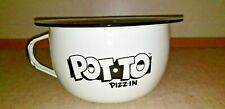"""Rare Enamelware Metal Chamber Pot """"Pot To Pizz In"""" Gag Gift Collector Very Nice"""