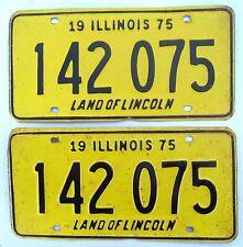 Illinois 1975 License Plate PAIR # 142 075