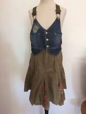 Pampolina Mädchen Jeans Cord Kleid Hippie Blumen Gr. 104 zu Sandale