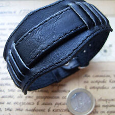 18mm MILITARY Style Bund BLACK Wide mens watch leather band Bracelet Poljot cuff