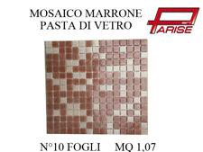 MOSAICO SU RETE PASTA DI VETRO RIVESTIMENTO CERAMICA MARRONE 10 FOGLI 1,07 MQ