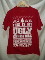Ugly Christmas Sweater T-Shirt Top Shirt Size Medium This is My Ugly Christmas