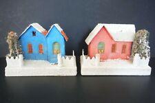 *Set of 2* Vintage Putz Christmas Village Houses Coconut Mica Glitter Japan