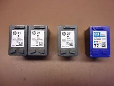 Lot of Four (4) HP EMPTY INK CARTRIDGES Black No. 21 (2) & 27 Tri-Color No. 22