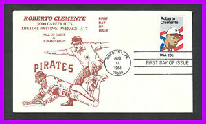 """ROBERTO CLEMENTE: 1984 first day of issue - 3000 hits - Ump calls him """"safe"""""""
