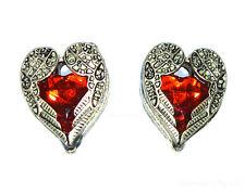 ANGEL WINGS OF LOVE Earrings Crystal Heart Ear Stud Vintage Retro Art Deco Gift