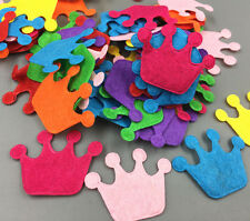 100pcs Imperial crown shape Mixed Colors Die Cut Felt Appliques Sewing clothes
