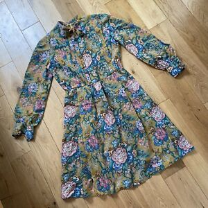 Vintage Handmade Pussybow Geek Granny Chic Floral Pleat Puff Sleeve Dress 8-10