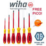 WIHA 25477 Electricians 6 Piece VDE 1000V Slot/Pozi Screwdriver Set + Free Pico