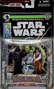 Dark Horse Star Wars 2 Comic Pack -Darth Vader & Rebel Officer Figures RARE