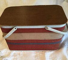 Vtg. Redmon (Tagged) Picnic Basket. Red,White,Cream stripe /White metal handles.
