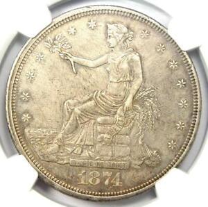 1874-CC Trade Silver Dollar T$1 - NGC AU Details - Rare Carson City Coin!