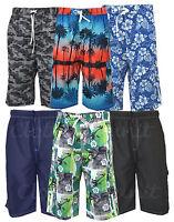 Mens KAM BIG SIZE Hawaiian Floral Swim Cargo Shorts Summer Mesh Lined 2-8XL