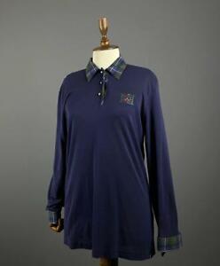 Ladies Escada Margaretha Ley Blue Silk Wool Long Sleeve Polo Neck Jumper Sz 38