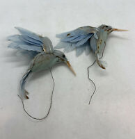 Vintage Lot of 2 Blue Color Tree ornaments Bird Feathered  feathers