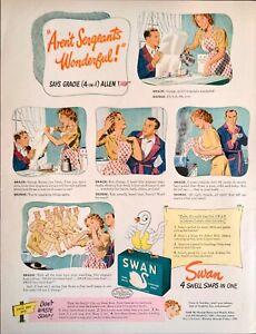 1944 Art Print Ad Swan Soap Pure White Floating Soap George Burn Gracie Allen