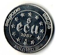 Moneda Bélgica Carlos V 5 Ecus plata .833 año 1987