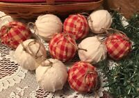 10 Primitive SNOWBALL MUSLIN Fabric RAG BALLS Christmas Ornaments farmhouse