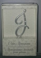 "N) Small Rhinestone Silver Monogram Letter ""J""  Wedding Cake Topper 3"" Lillian"