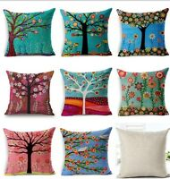 Cotton Linen Throw Pillow Case Sofa Bed Car Cushion Cover Home Decor FlowersTree