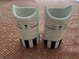 """2 x Ikea FÅTALIG FATALIG Unique Vase, Ceramic Off-White/Black 4 ¾"""", Cat - NEW"""
