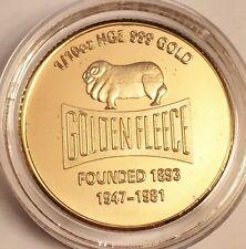 """New """"GOLDEN FLEECE"""" Oil Coin 1/10th oz HGE 999 Gold Australian Coin"""