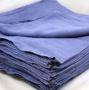 100 Pieces-NEW BLUE GLASS CLEANING SHOP TOWELS/HUCK/ SURGICAL/ DETAILING TOWELS