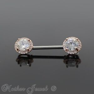 14K ROSE GOLD TRIPLE PLATED 14G HALO ROUND SIMULATED DIAMOND NIPPLE BAR