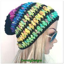 HANDMADE women's teens black rainbow slouch hat handmade crochet beanie hippie