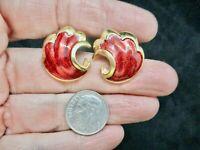 Vintage-Gold Tone & Red Enamel Pierced Earrings