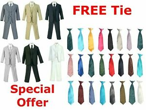 Boys Navy Suits Kids Formal Dress Toddler All Sizes Choose Your Free Color Tie