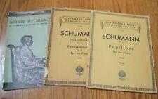 3 bks Schumann Papillons, Op 2 + Nachtstucke + Fantasiestucke + MacDowell