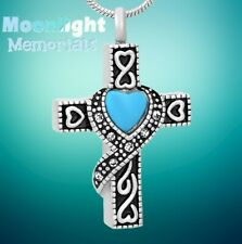 New Crystal Ribbon Heart Cross Urn Cremation Pendant Ash Memorial Necklace