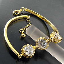 BRACELET BANGLE REAL 18K YELLOW GF GOLD LADIES DIAMOND SIMULATED ANTIQUE DESIGN