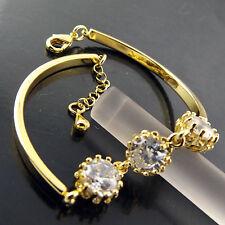 BRACELET BANGLE REAL 18K YELLOW GF GOLD LADIES DIAMOND SIMULATED ANTIQUE DESIGN