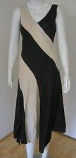 WALLIS Black & Beige Linen & Viscose Asymmetrical Hem Sleeveless Dress 38  8-10
