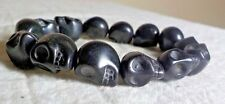 Stone Stretch Bracelet For Halloween! Skeleton Head Beads In Carved