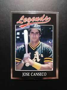 1991 Legends Sports Memorabilia # 4 Jose Canseco Baseball Card, Athletics