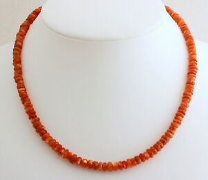 Natural Sunstone Necklace Precious Stone Faceted 1A Quality Necklace 45 CM