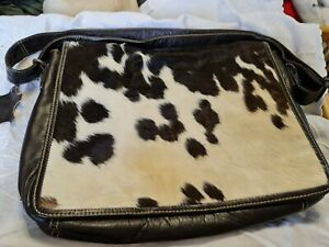 Real Cowhide Leather with cow skin/fur satchel/messenger/office bag