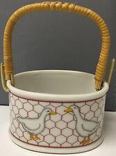 Takahashi Porcelain Basket Ducks Design Wicker Handle